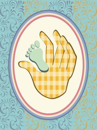 Baby boy announcement card Illustration
