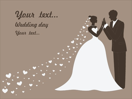 vintage bride: art sketching beautiful young bride in white and groom  vintage background with space for text
