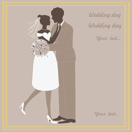 wedding pictures, bride and groom in love, the illustration