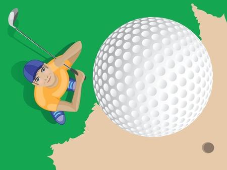 golfer shooting a golf ball  vector cartoon illustration