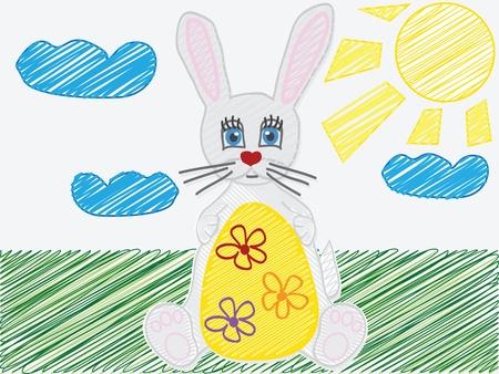 ilustracji wektorowych z wizerunkiem dziecka s rysunku Easter Bunny jaj Ilustracja