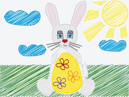 vector illustration with the image of  a child s drawing  the Easter Bunny egg