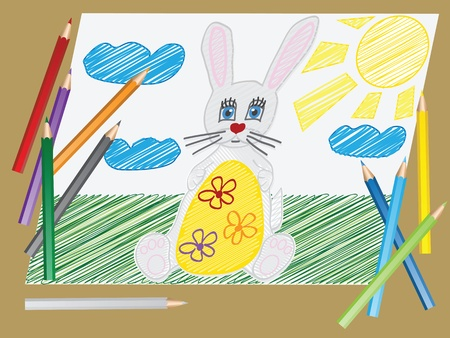 vector illustration with the image of  a child s drawing  the Easter Bunny egg and pencils