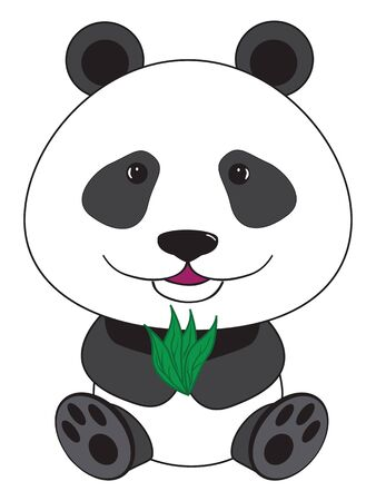 vector cartoon illustration - sitting panda