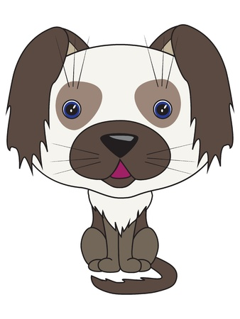 Vector cartoon illustration - sitting dog