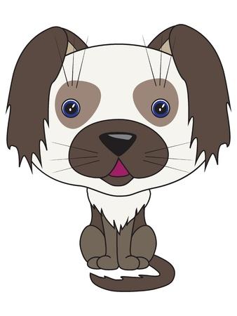 Vector cartoon illustration - sitting dog
