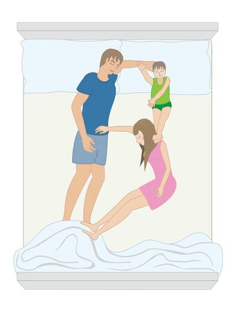 Font B formed by sleeping humans bodies on the bed, made from a family consisting of a father, mother and child. Vector illustration