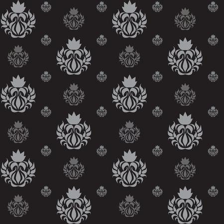 Jednolite abstrakcyjny wzór, ze srebrnymi lokami na czarnym tle, tapety.