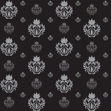 Seamless abstract pattern, with silver curls on a black background, wallpaper.