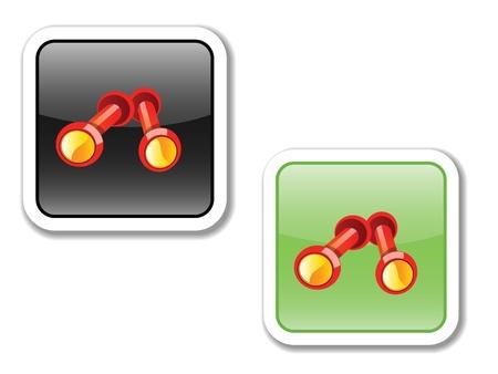 ikony, przyciski, do telefonu i na stronie internetowej, wskazując, że sport, wysiłek, trening, osiągnięcia, zdrowie