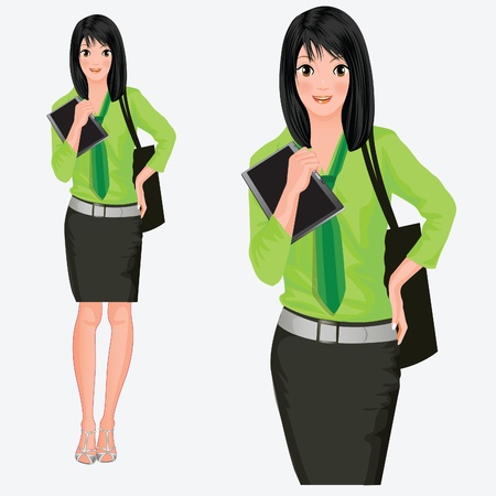 vector illustration, modern anime business lady with a clipboard in her hands Vector
