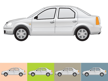 Vector illustration of the car in grey colors on the white and the other backgrounds with a transparent glass Stock Vector - 18954626