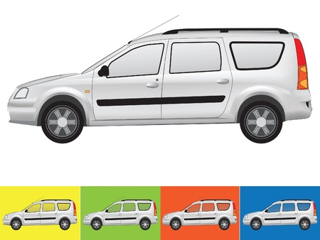 Vector illustration of the car in grey colors on the white and the other backgrounds with a transparent glass Vector