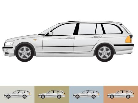 Vector ilustracji z samochodu w szarych kolorach na bia?ym i t?a innych z przezroczystego szk?a Ilustracja
