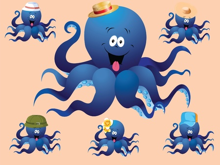 Blue cheerful cartoon octopus, with various accessories   hat