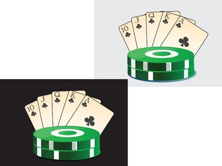Vector ilustracji z wizerunkiem karty do gry i żetony w kasynie