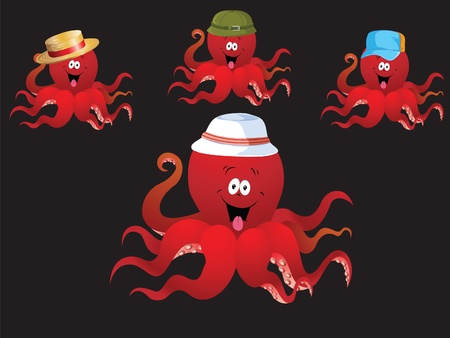 Red cheerful cartoon octopus, with various accessories   hat   Illustration
