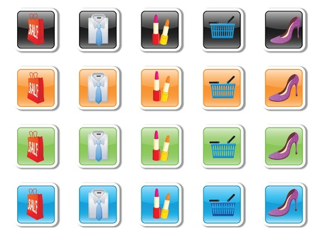 vector icons on purchases and accessories Vector