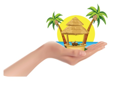 palm trees, the sea, the sun, the cabin in big hand, vector illustration