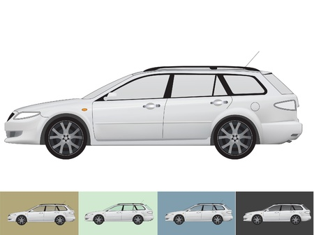 illustration of the car in grey colors on the white and the other backgrounds with a transparent glass Stock Vector - 19021427