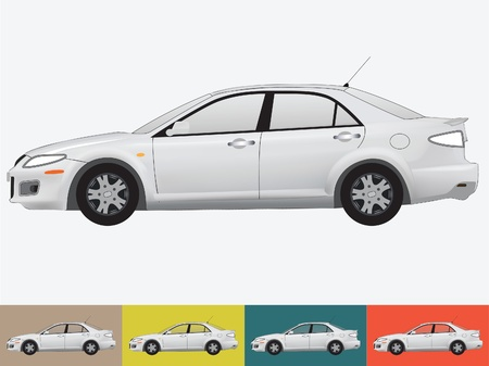 Vector illustration of the car in grey colors on the white and the other backgrounds with a transparent glass Stock Vector - 19021430