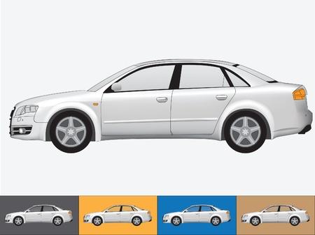 white car: Illustrazione vettoriale della vettura nei colori grigio sul bianco e gli altri ambiti di provenienza con un vetro trasparente Vettoriali