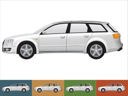 Ilustracja samochodu w szarych kolorach na bia?ym i t?a innych z przezroczystego szk?a