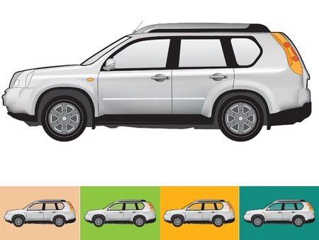 Vector illustration of the car in grey colors on the white and the other backgrounds with a transparent glass Illustration