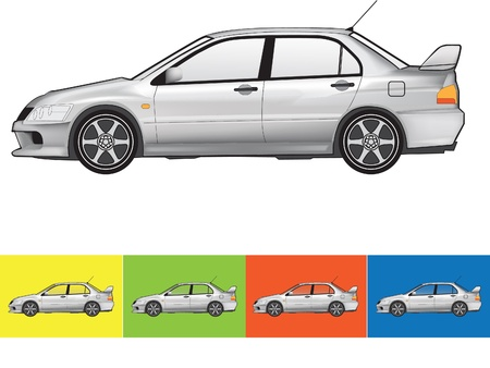 illustration of the car in grey colors on the white and the other backgrounds with a transparent glass Vector