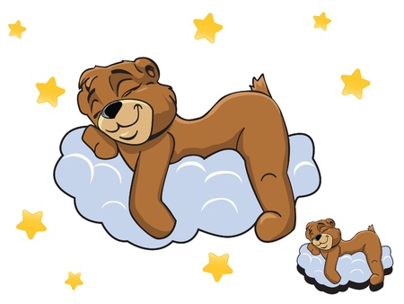 Vector cartoon color cute Teddy bear sleeping on a cloud Vector