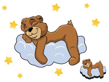 oso caricatura: Vector de dibujos animados de color oso de peluche lindo que duerme en una nube