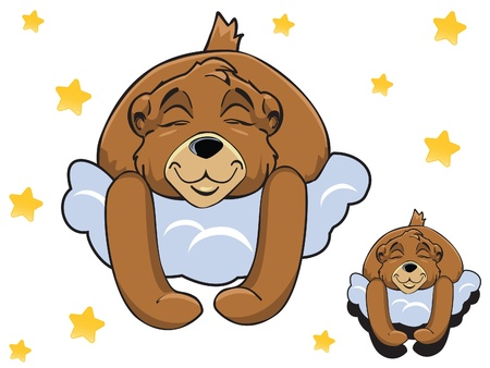 baby sleeping: Vector cartoon color cute Teddy bear sleeping on a cloud