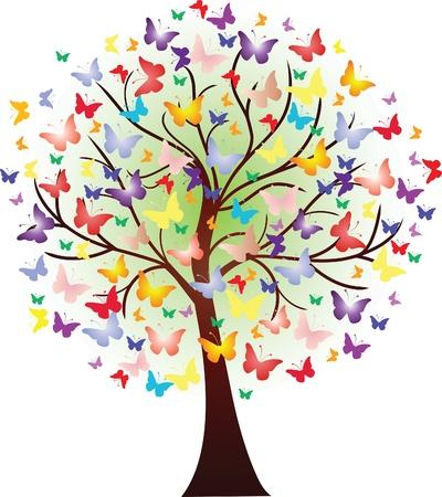 Wektor piękne drzewo, wiosna, składający się z motylami