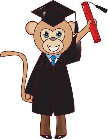 comic illustration of monkey school graduate