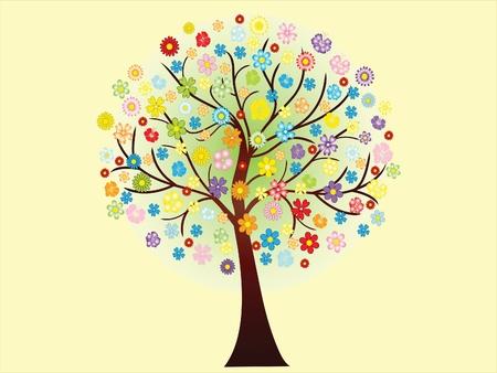 Vector beautiful blooming spring tree