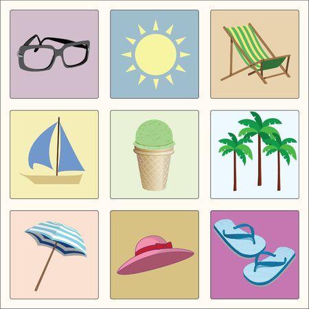 vector set of summer retro icons