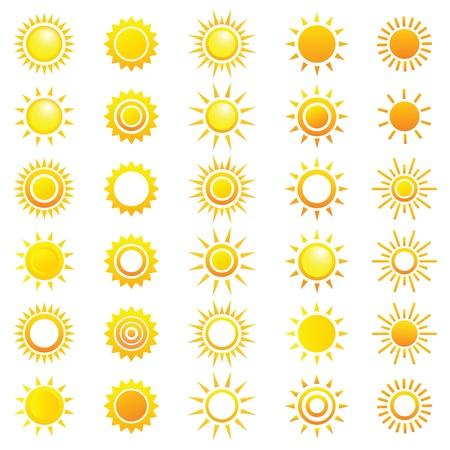 Wektor zestaw różnych słońc