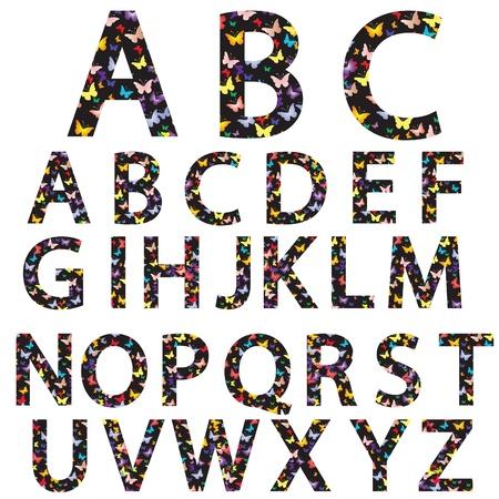 Niezwykłe wektor alfabet z Motyle na czarnym napisem Ilustracja