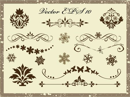 Wektor zestaw elementów projektu kaligraficzne i dekoracji strony