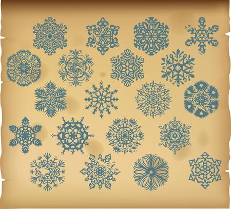 The set of vector vintage snowflakes on vintage background Illustration