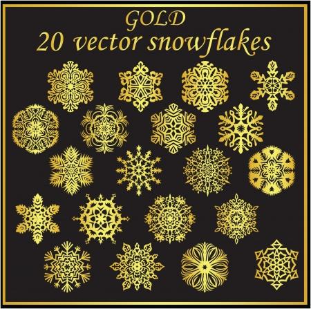 Vector set gold snowflakes on black background Illustration