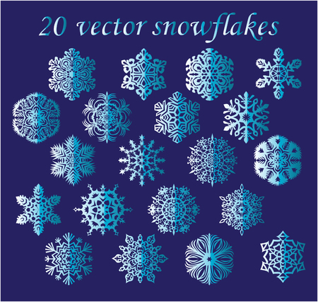 Vector set blue snowflakes on blue background