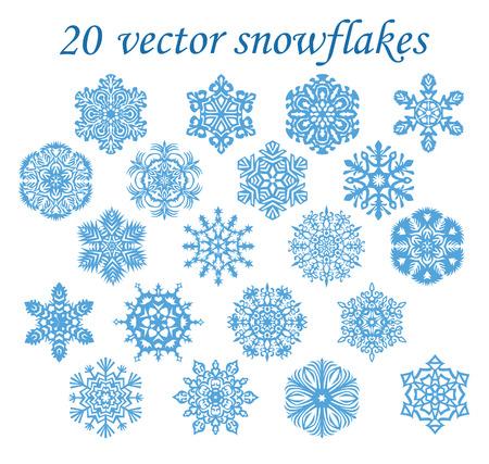 Vector set blue snowflakes on transparent background