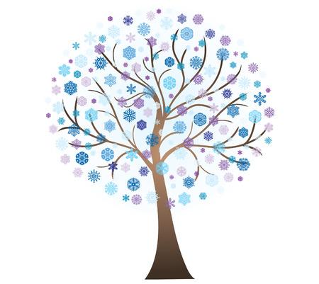 Vector winter art tree
