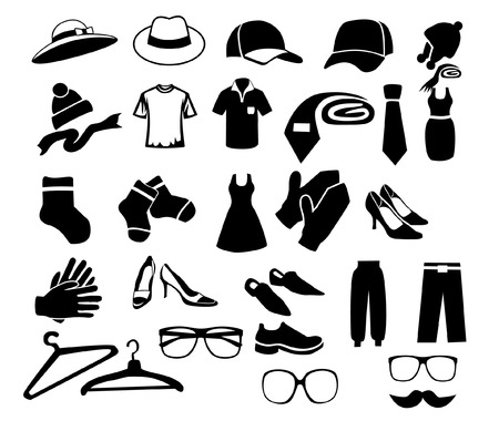 set of isolated black icons on clothes