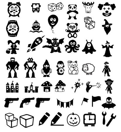 set of icons on childrens toys