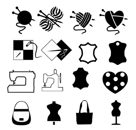 set of icons of needlework and sewing