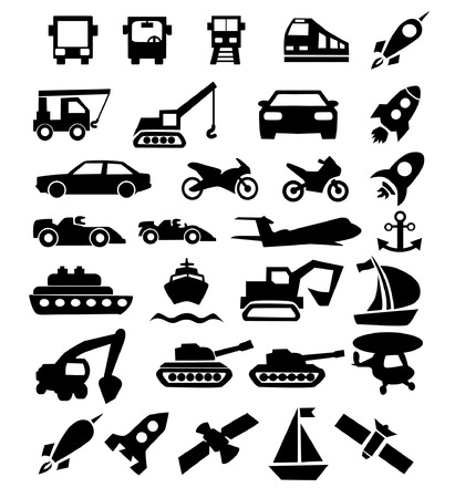 vector isolated icons set, black on the theme of transport