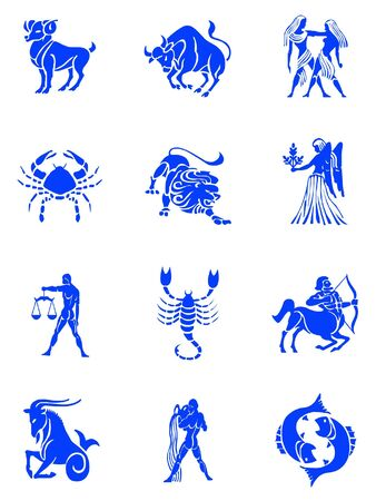lion fish: Blue illustration of the zodiac signs collection