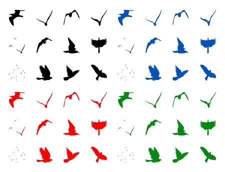 swooping: Color illustration of the isolated silhuettes of birds
